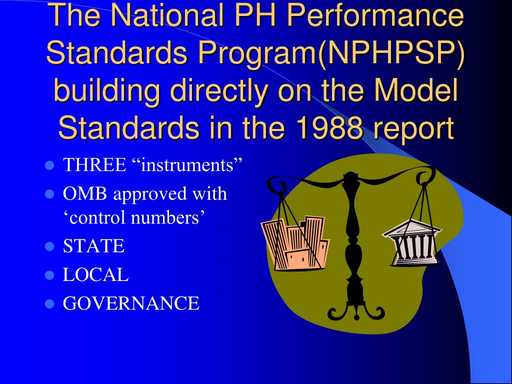 The National PH Performance Standards Program(NPHPSP) building directly on the Model Standards in the 1988 report