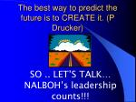 the best way to predict the future is to create it p drucker