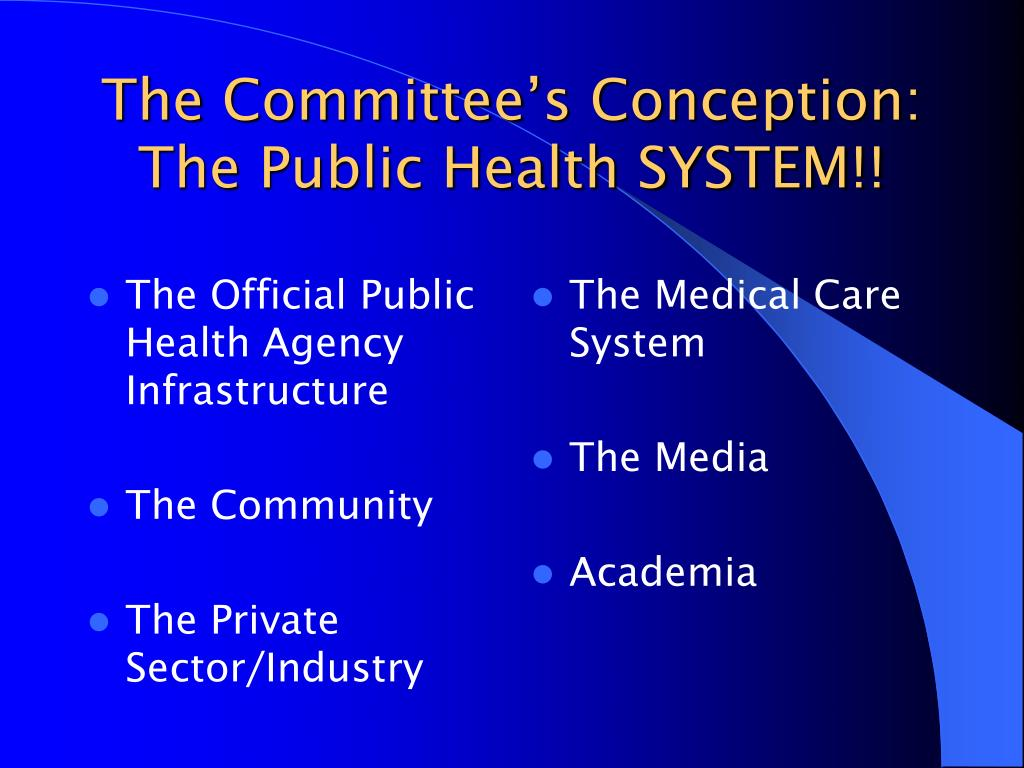 The Official Public Health Agency Infrastructure