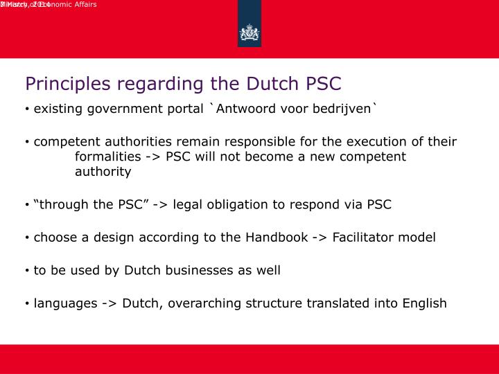 Principles regarding the dutch psc