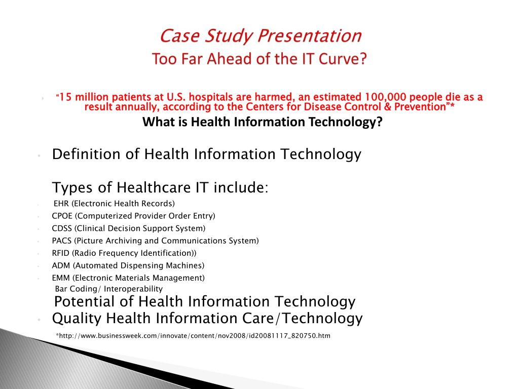 Ppt Case Study Presentation Too Far Ahead Of The It