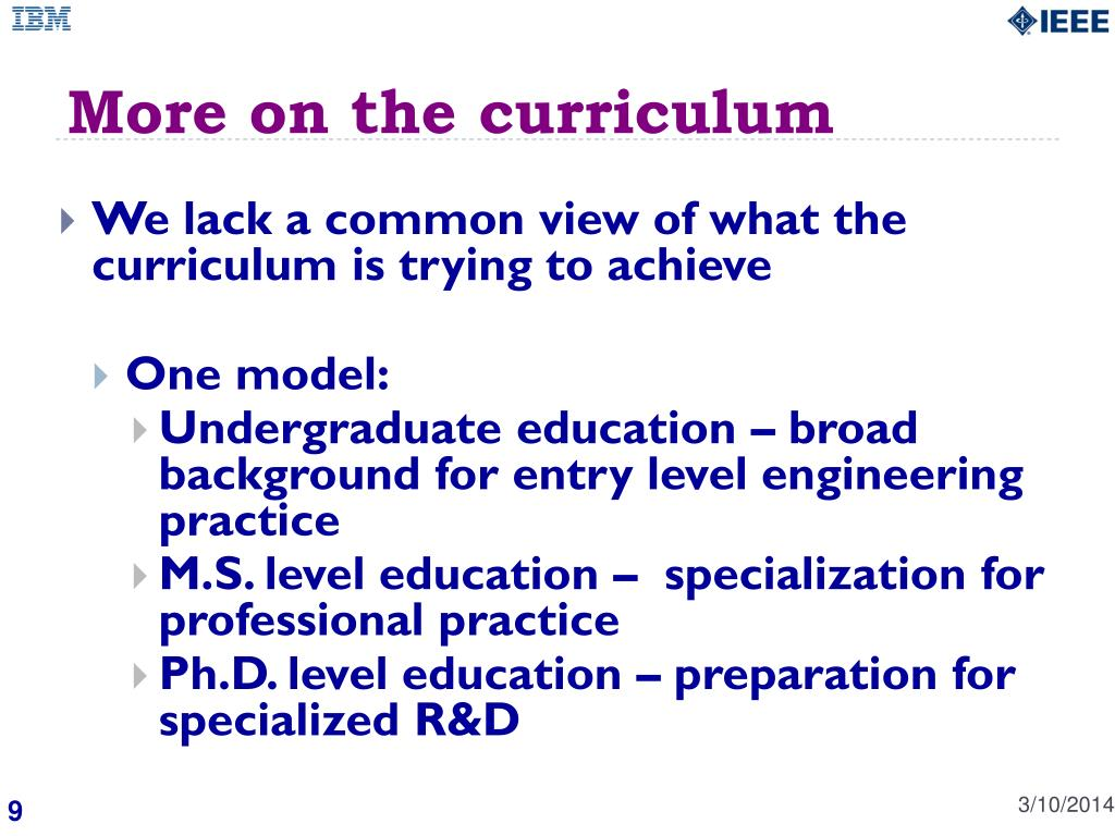 More on the curriculum