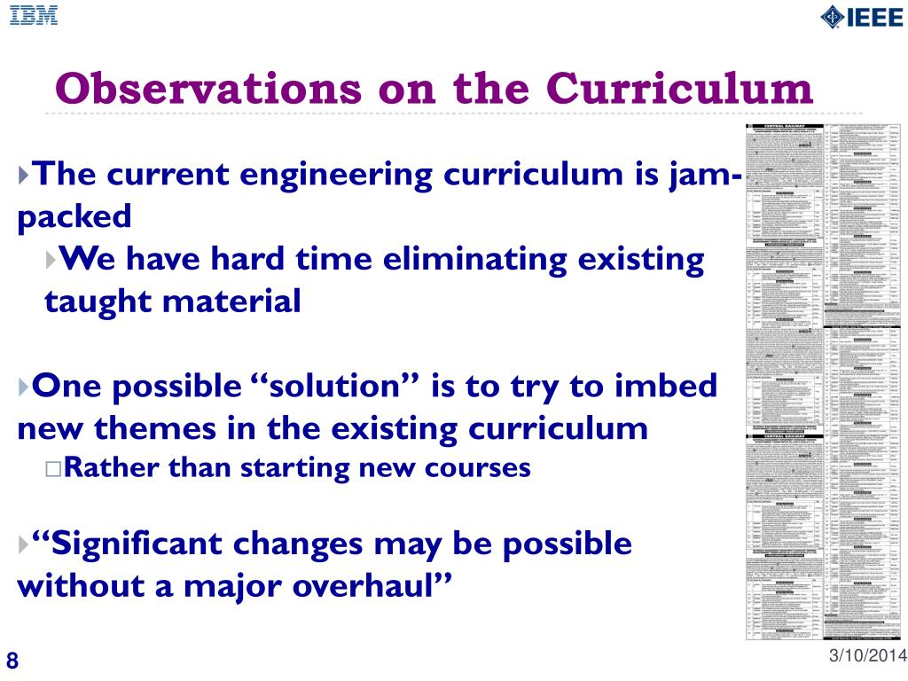Observations on the Curriculum