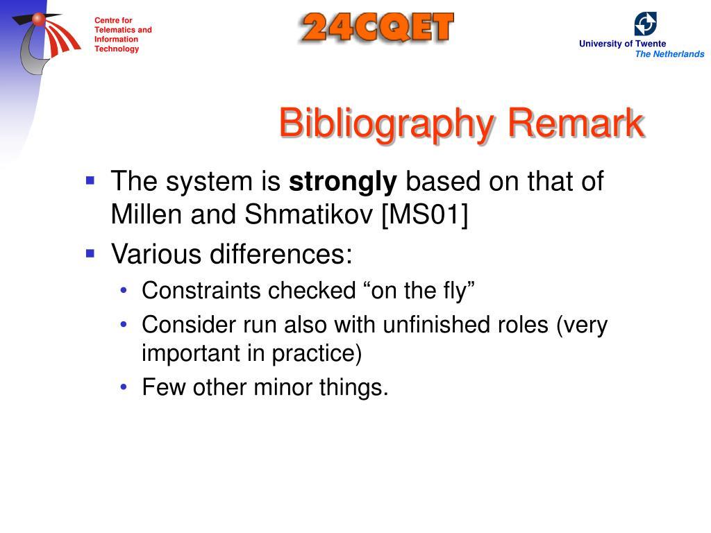 Bibliography Remark