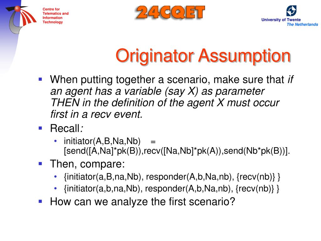 Originator Assumption