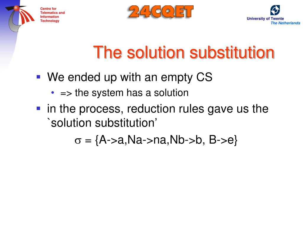 The solution substitution