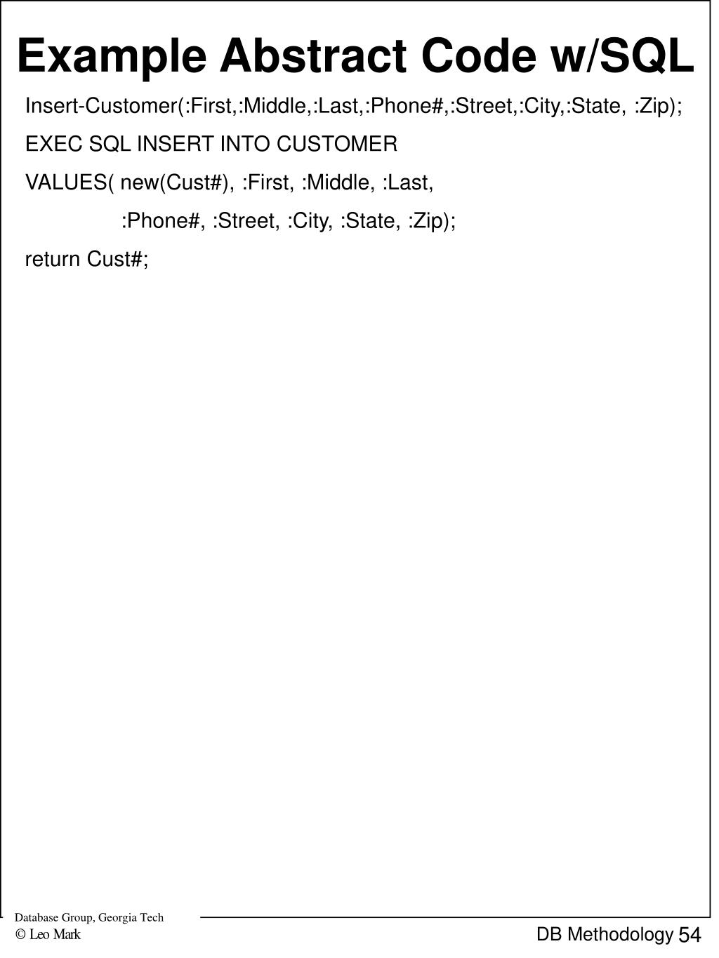 Example Abstract Code w/SQL