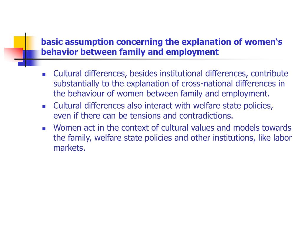 basic assumption concerning the explanation of women's behavior between family and employment