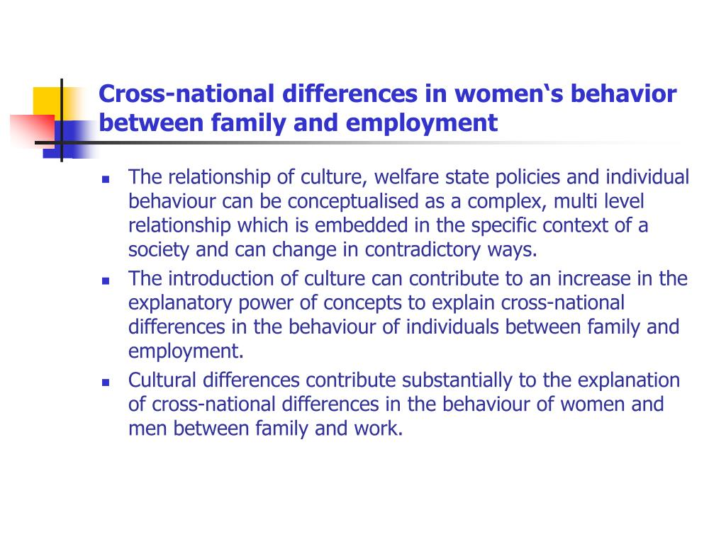 Cross-national differences in women's behavior between family and employment