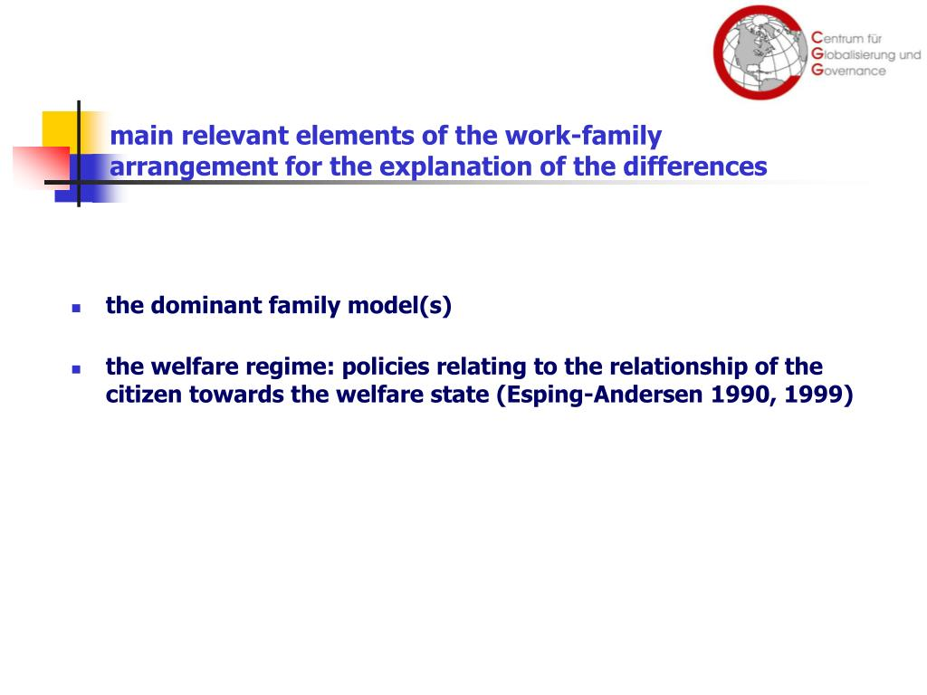 main relevant elements of the work-family arrangement for the explanation of the differences