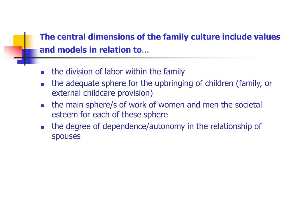 The central dimensions of the family culture include values and models in relation to