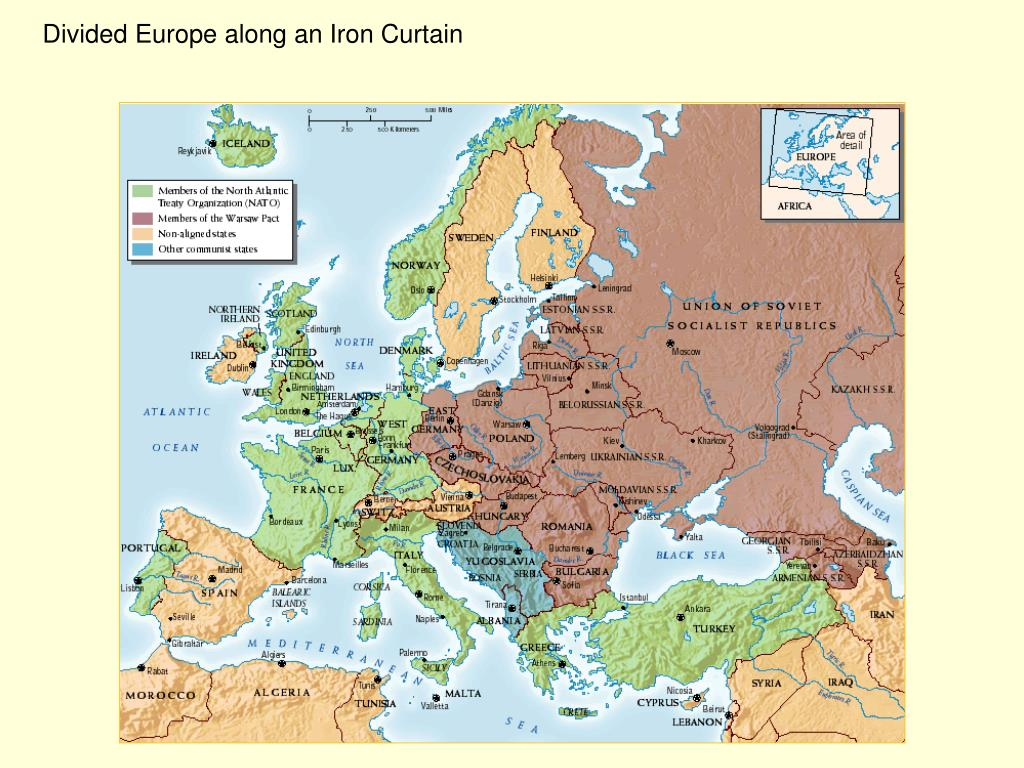 Divided Europe along an Iron Curtain
