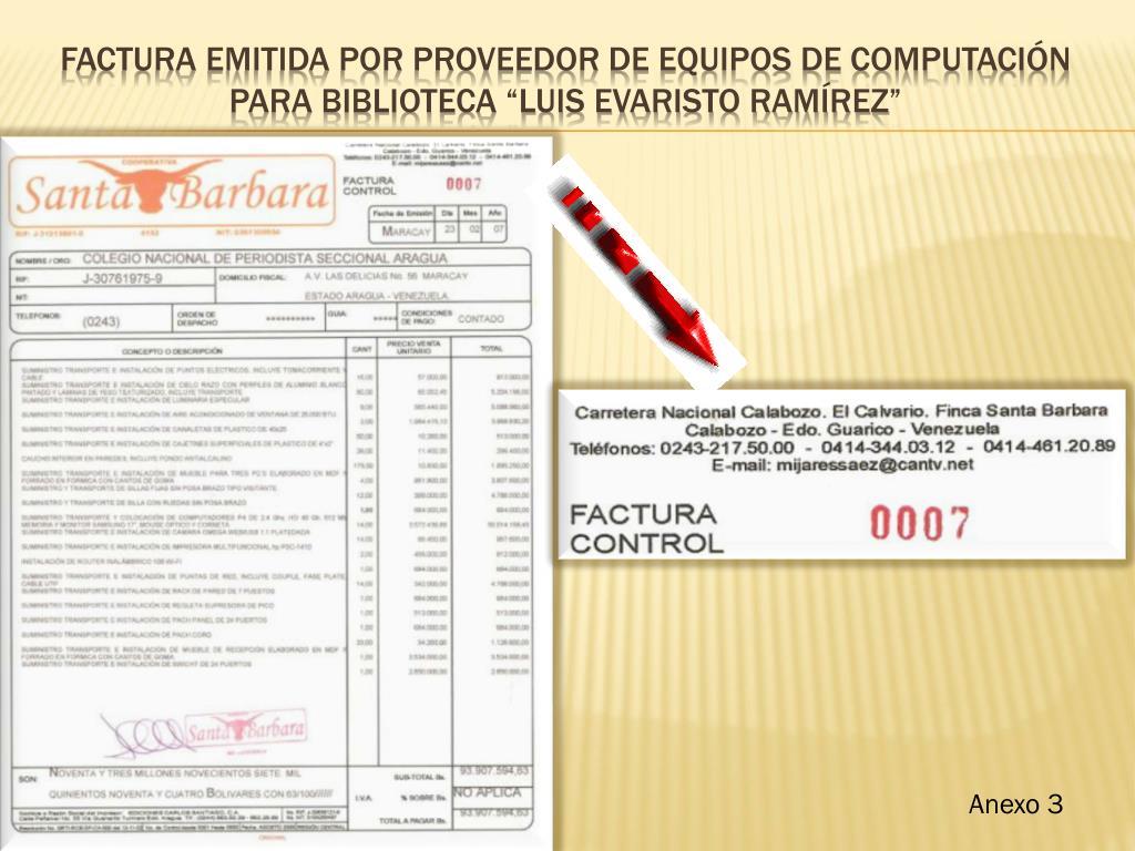FACTURA EMITIDA POR PROVEEDOR DE EQUIPOS DE COMPUTACIÓN