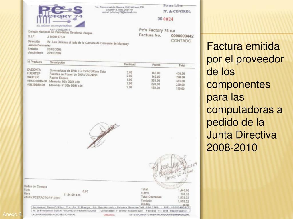 Factura emitida por el proveedor de los componentes para las computadoras a pedido de la Junta Directiva 2008-2010