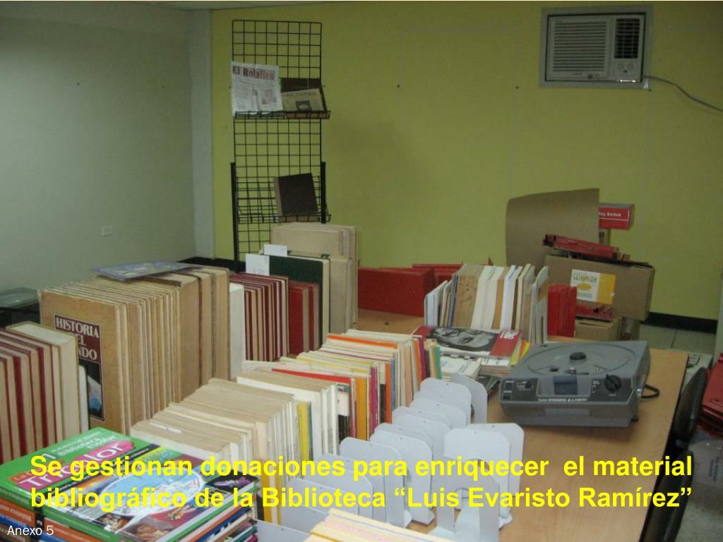 """Se gestionan donaciones para enriquecer  el material bibliográfico de la Biblioteca """"Luis Evaristo Ramírez"""""""