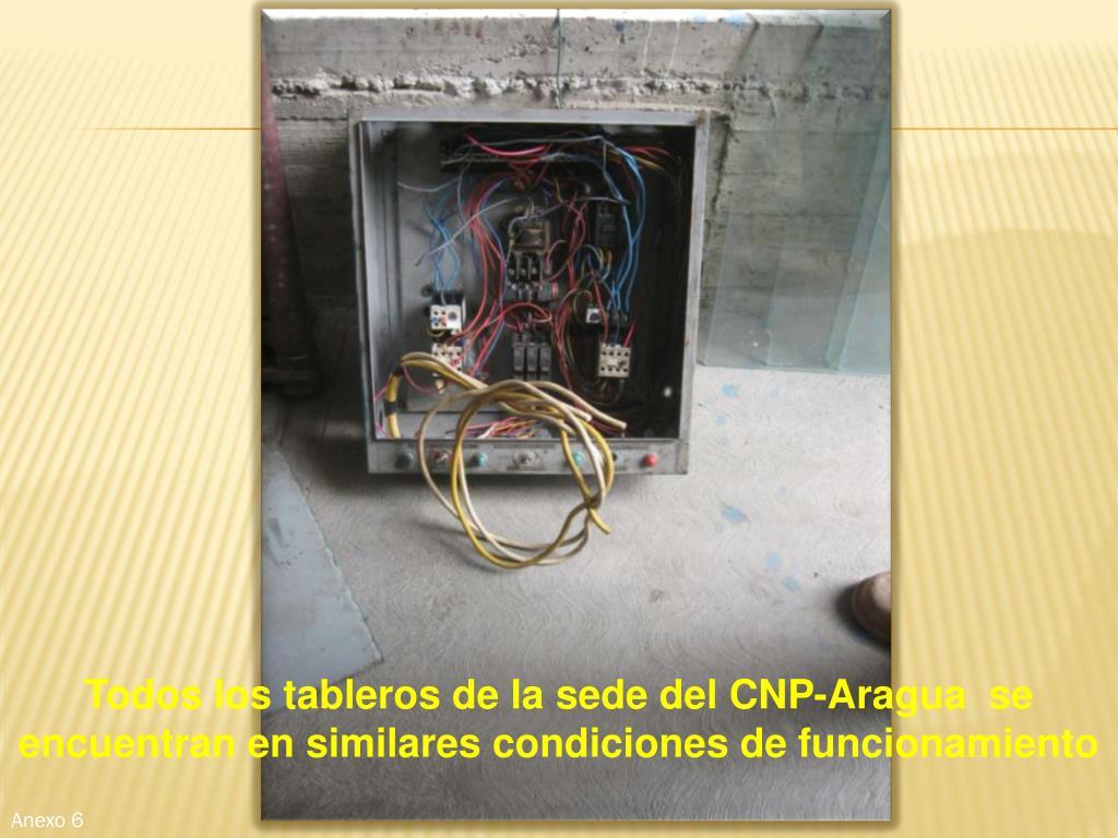 Todos los tableros de la sede del CNP-Aragua  se encuentran en similares condiciones de funcionamiento