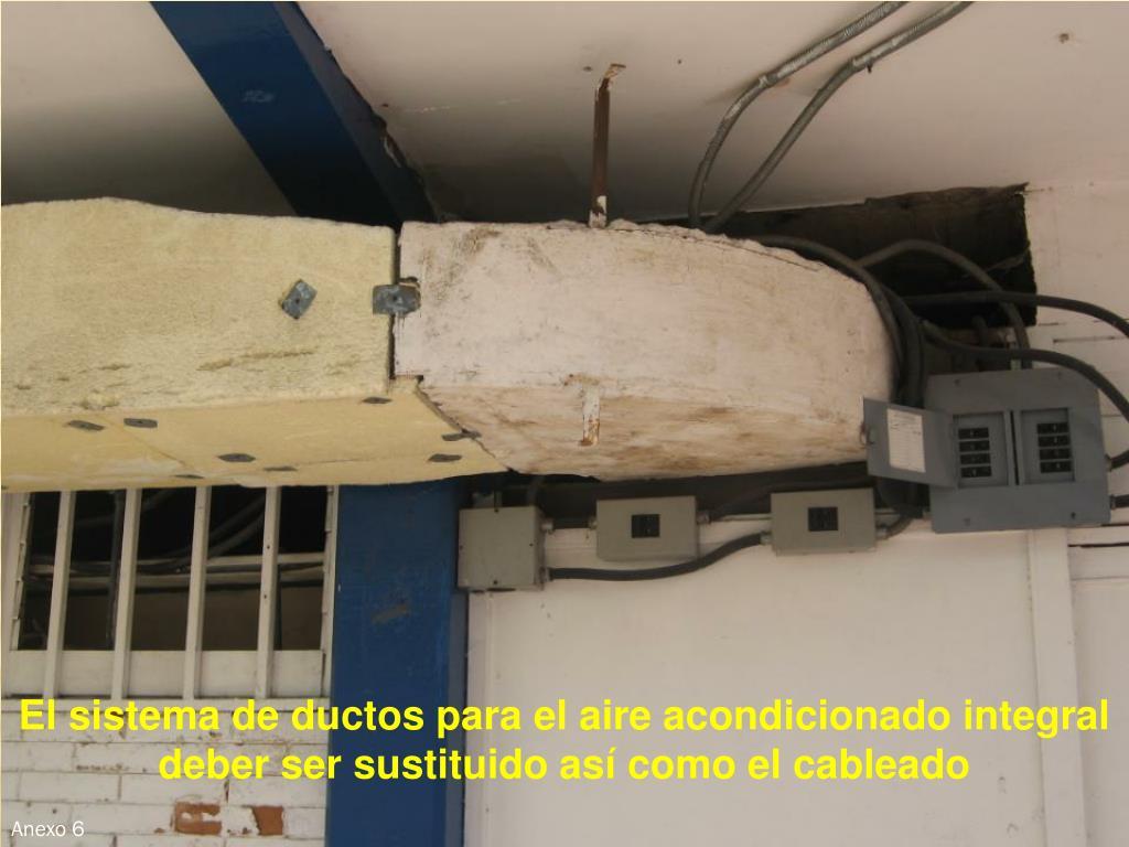 El sistema de ductos para el aire acondicionado integral deber ser sustituido así como el cableado