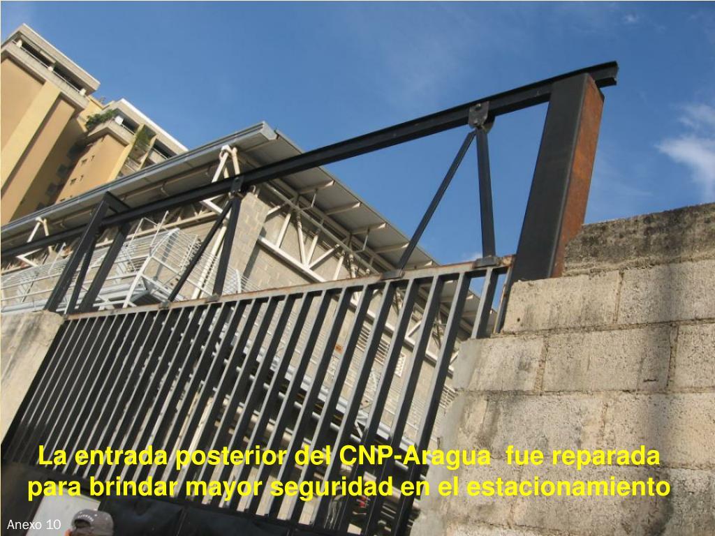 La entrada posterior del CNP-Aragua  fue reparada  para brindar mayor seguridad en el estacionamiento