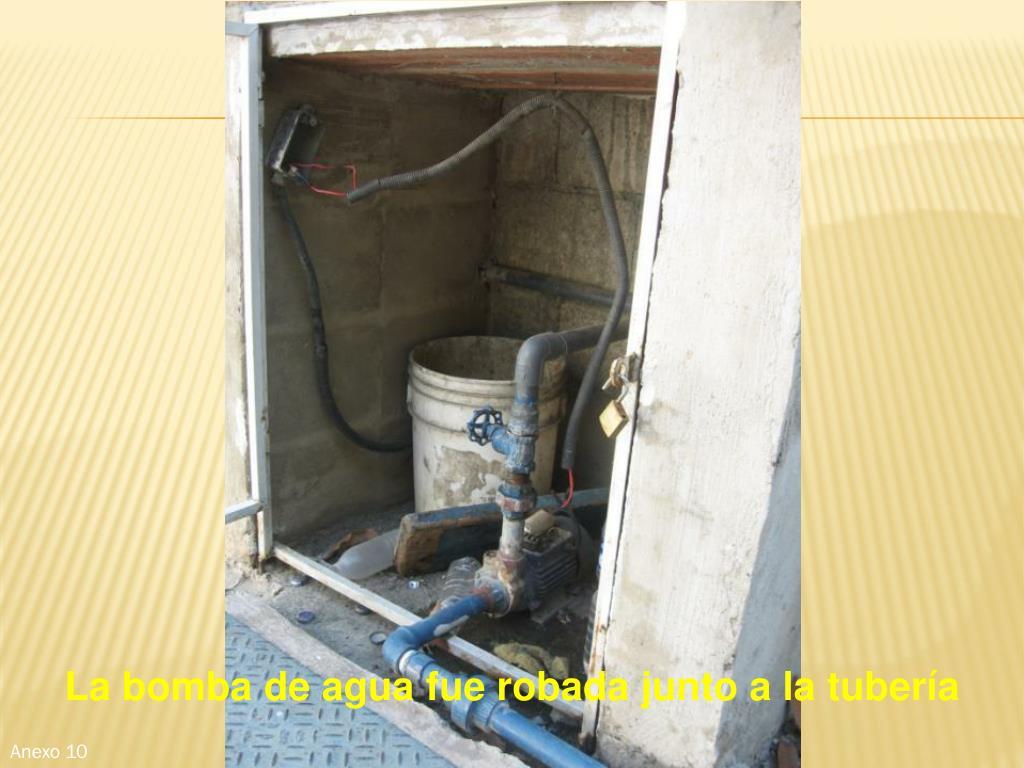 La bomba de agua fue robada junto a la tubería