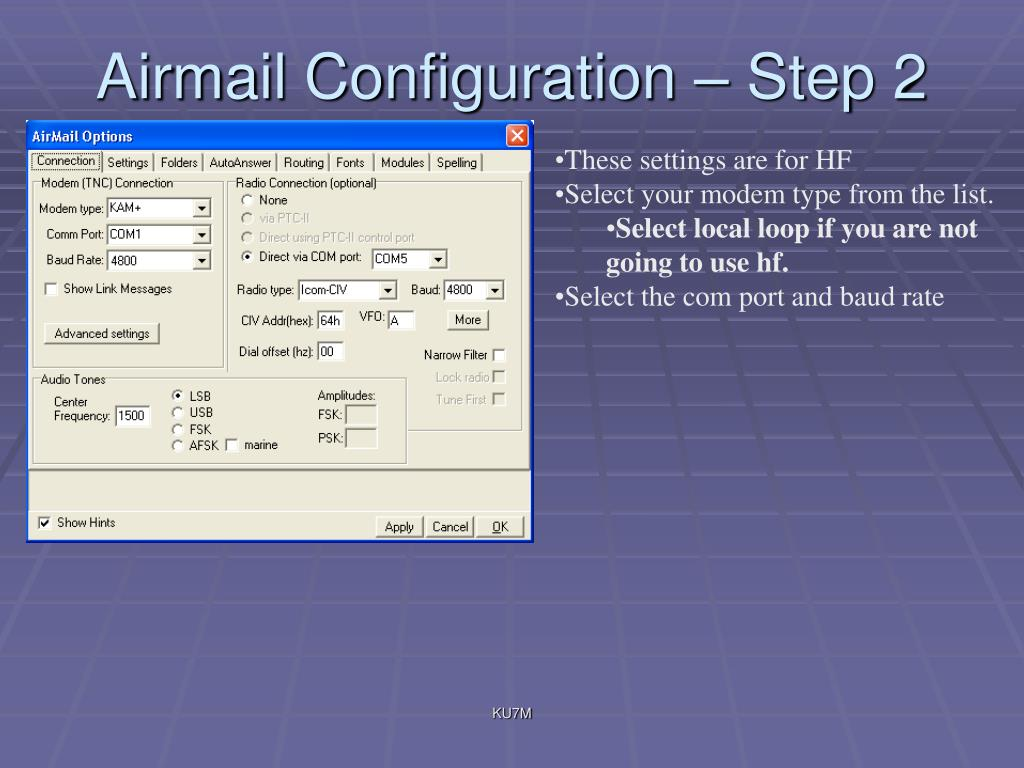 Airmail Configuration – Step 2