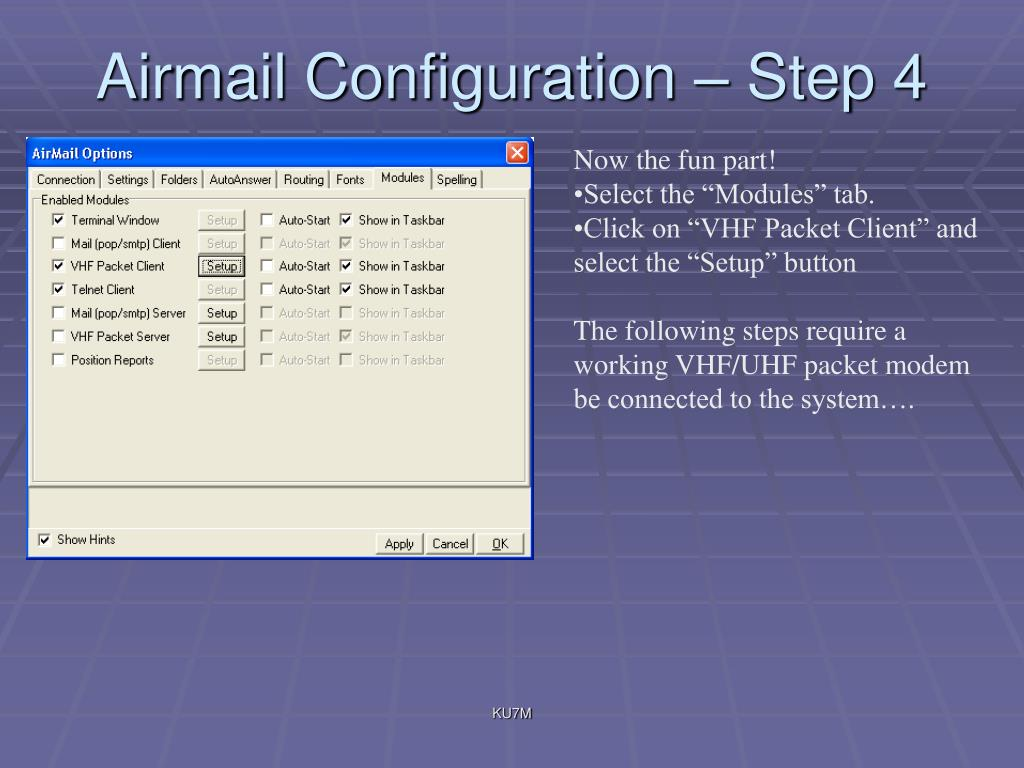 Airmail Configuration – Step 4