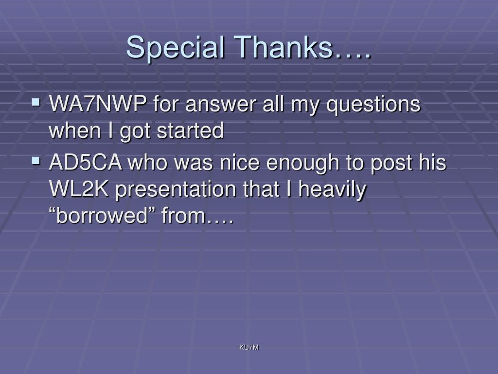 Special Thanks….