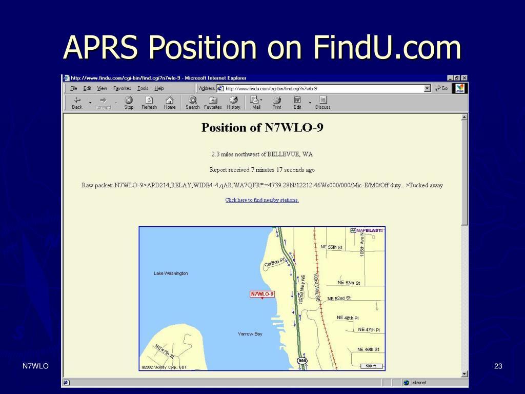 APRS Position on FindU.com