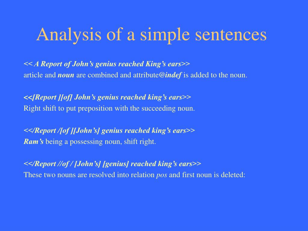 Analysis of a simple sentences