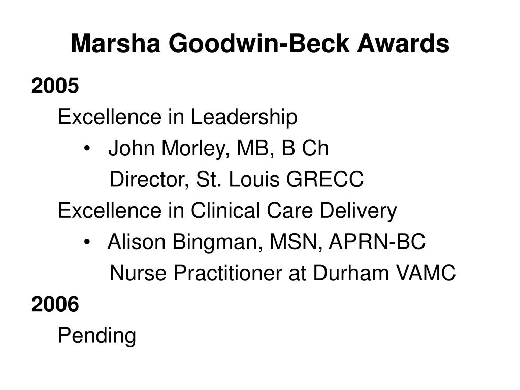 Marsha Goodwin-Beck Awards