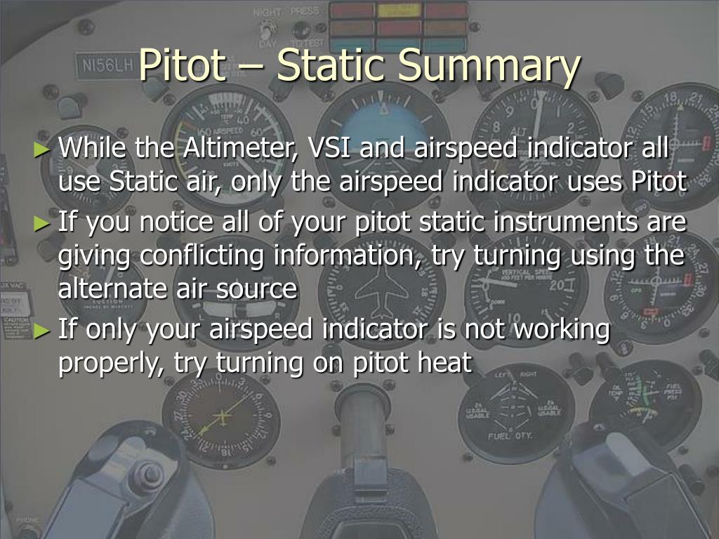 Pitot – Static Summary