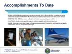 accomplishments to date6
