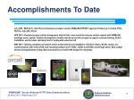 accomplishments to date7