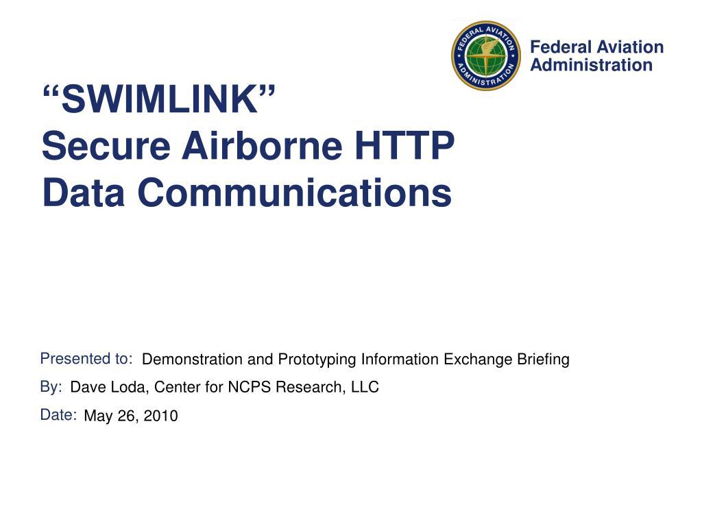 swimlink secure airborne http data communications