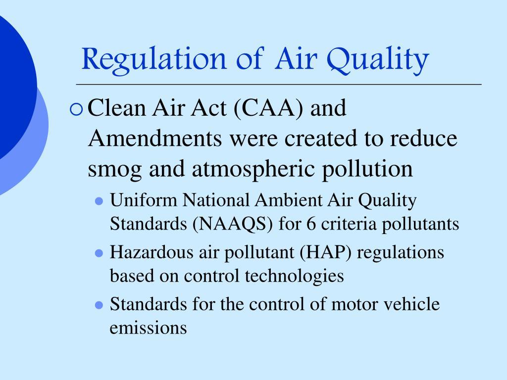 Regulation of Air Quality