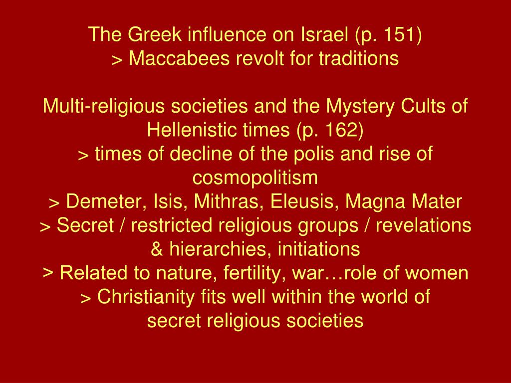 The Greek influence on Israel (p. 151)
