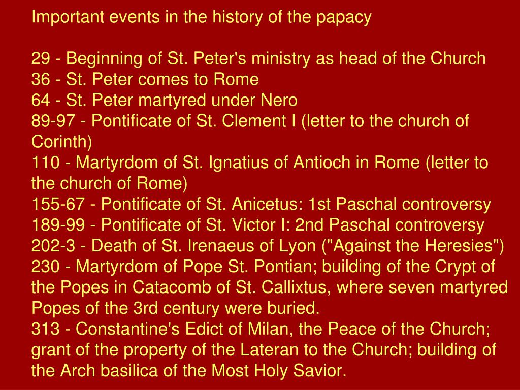 Important events in the history of the papacy