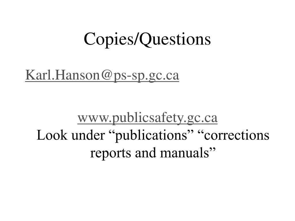 Copies/Questions