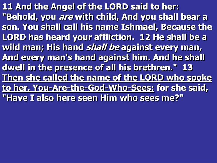 "11 And the Angel of the LORD said to her: ""Behold, you"