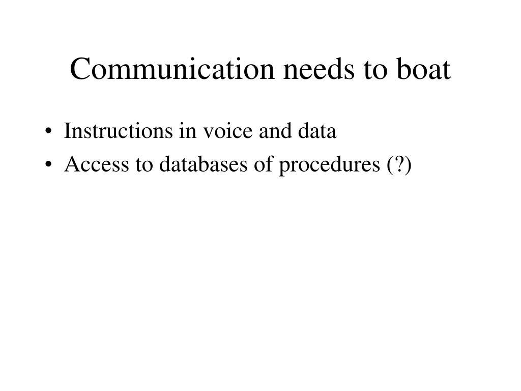 Communication needs to boat
