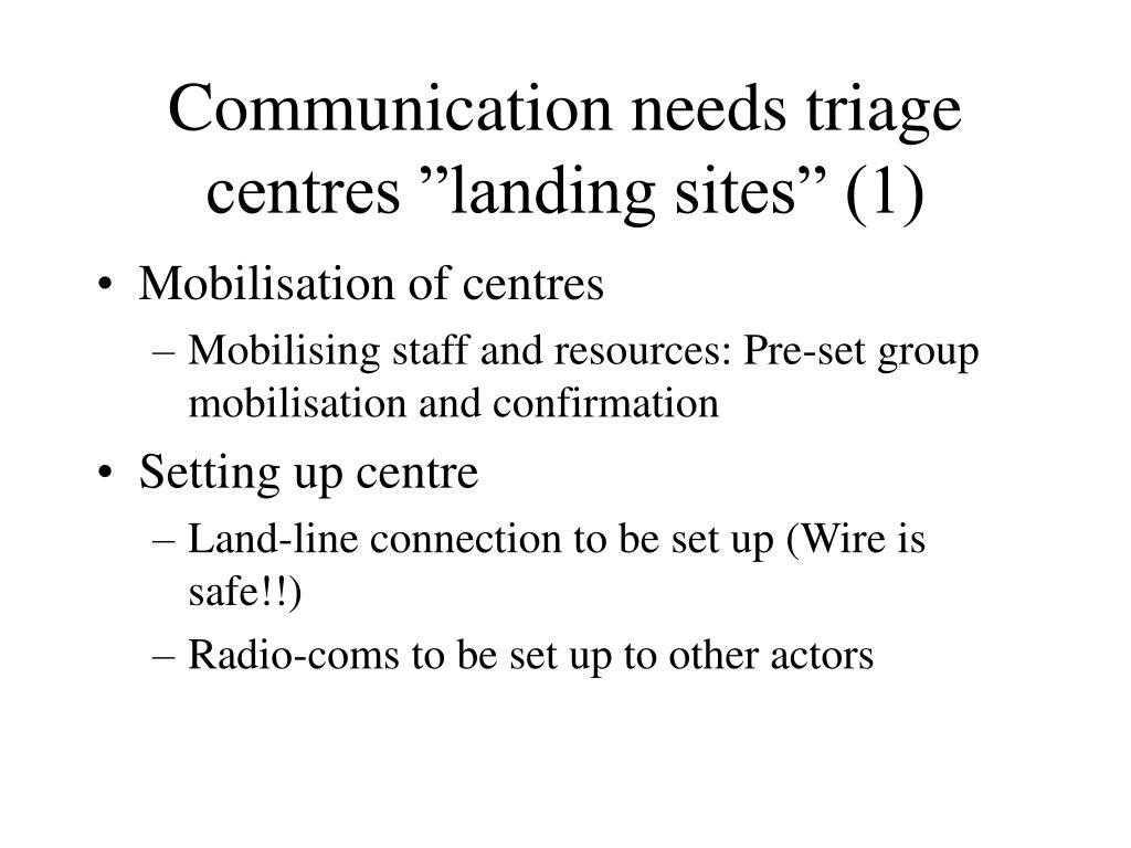 "Communication needs triage centres ""landing sites"" (1)"