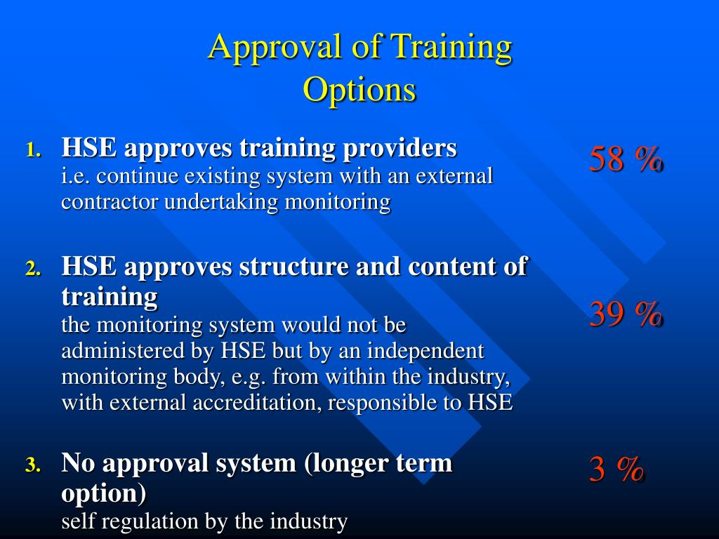 HSE approves training providers