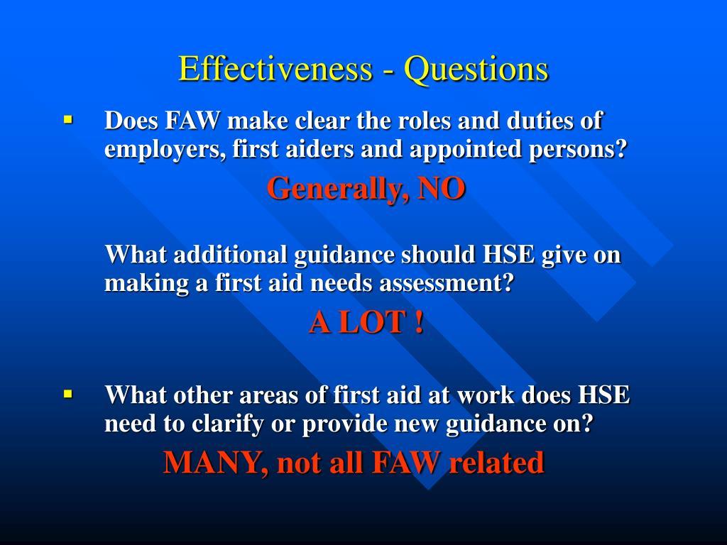 Effectiveness - Questions