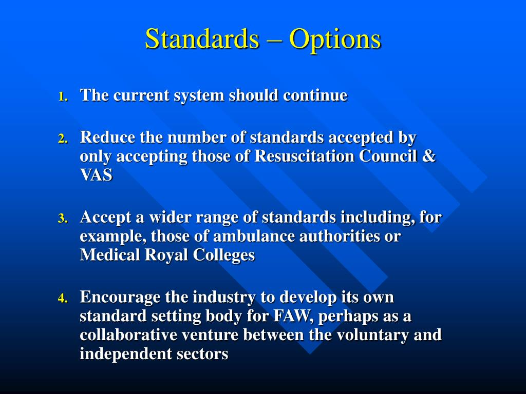 Standards – Options