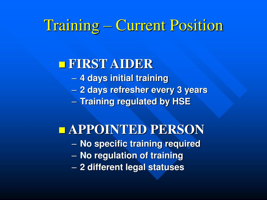 Training – Current Position