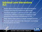individual level interventions ili