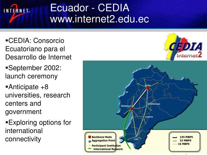 CEDIA: Consorcio Ecuatoriano para el Desarrollo de Internet