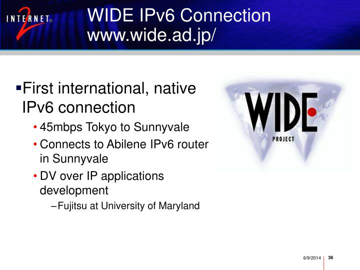WIDE IPv6 Connection