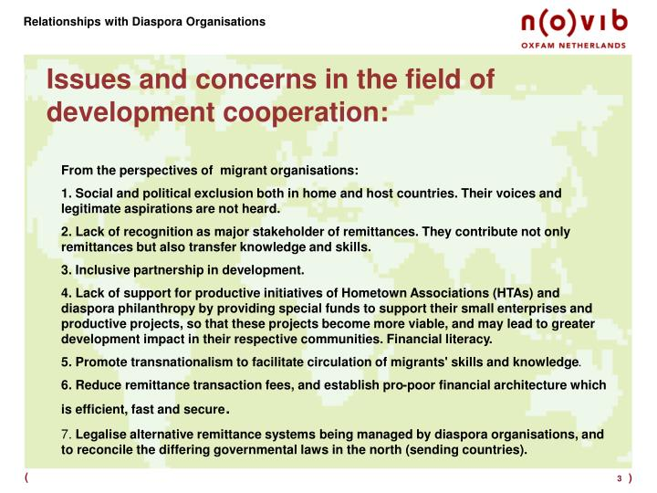 Issues and concerns in the field of development cooperation
