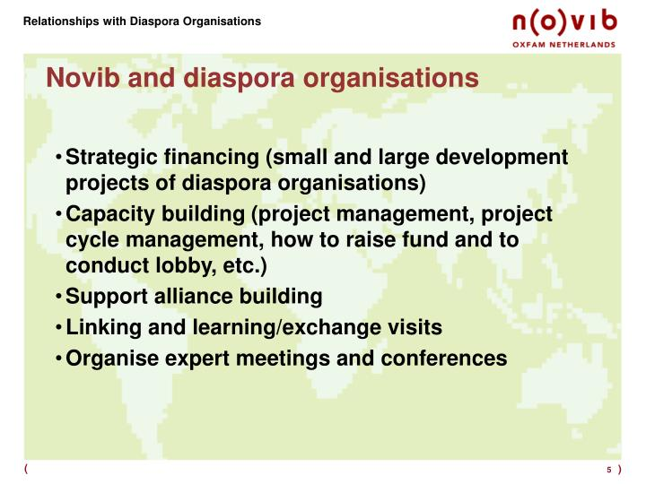 Relationships with Diaspora Organisations