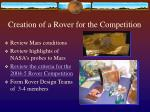 creation of a rover for the competition